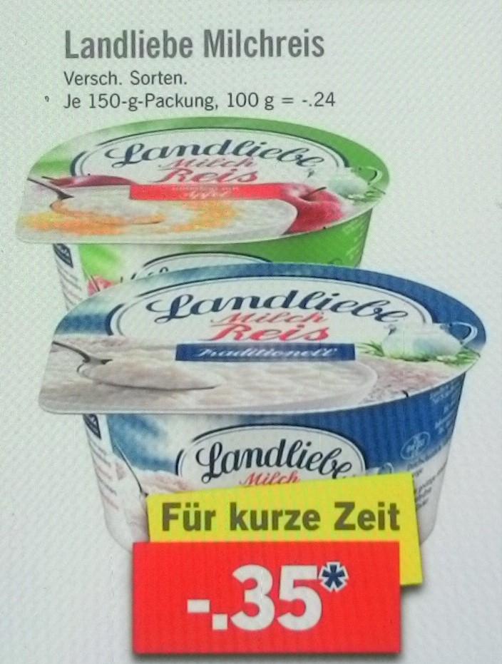 [Lidl + scondoo] KW 12: 6x Landliebe Milchreis für 1,10 €