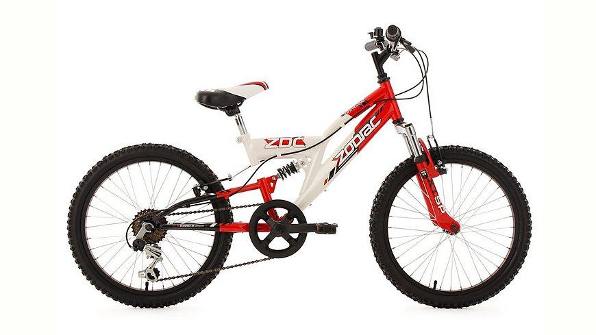 [plentyone] Fully Jugend-Mountainbike, 20 Zoll, rot-weiß, 6-Gang-Kettenschaltung, »Zodiac«, KS Cycling