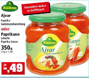 [Thomas Philipps ab 20.03.] Kühne Ajvar oder Kühne Paprikano (350 g Glas)