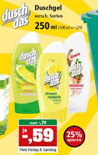 [Thomas Philipps ab 24.03.] duschdas Duschgel (250 ml) verschiedene Sorten