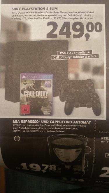 LOKAL (?) GE   PS4 SLIM 1 TB 2 Controller + CoD IW für 249,- €