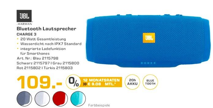 [Saturn - Lokal Dortmund] JBL Charge 3 verschiedene Farben für jeweils 109€