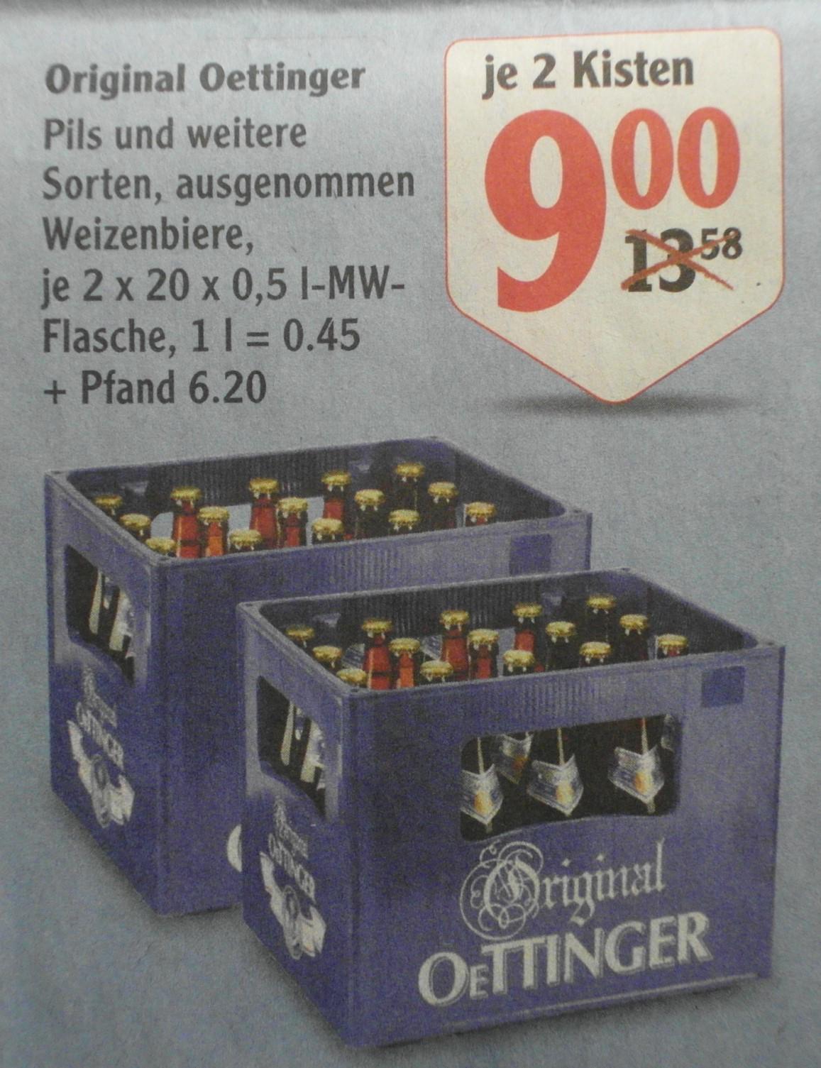 [Globus] 2 Kästen Oettinger Bier für 9,00€ (4,50€ / Kasten)