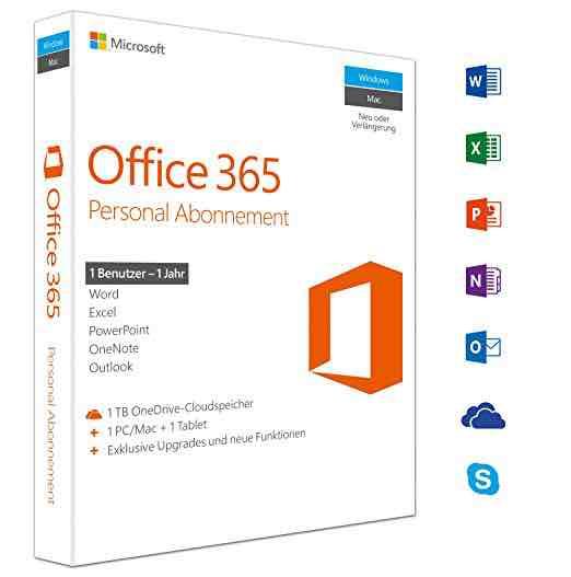 Office 365 Personal 1 Jahr bei Amazon für 29.99€. Digital oder Versand möglich!