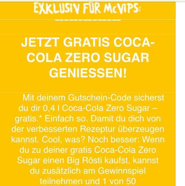 Gratis Coke Zero bei McDonalds