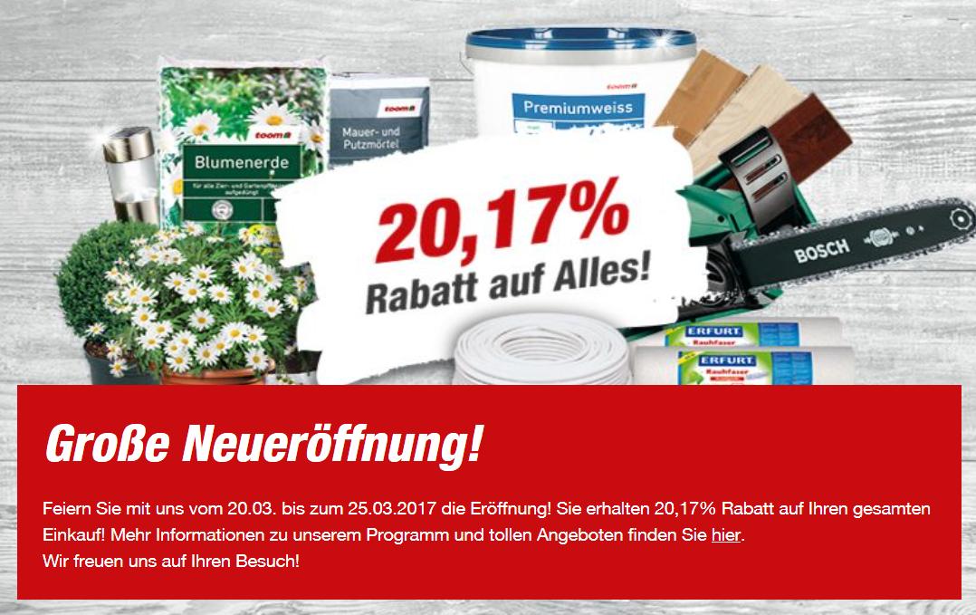 [Lokal Paderborn] Toom Baumarkt 20,17 % Rabatt auf alles! 20.03 - 25.03.2017