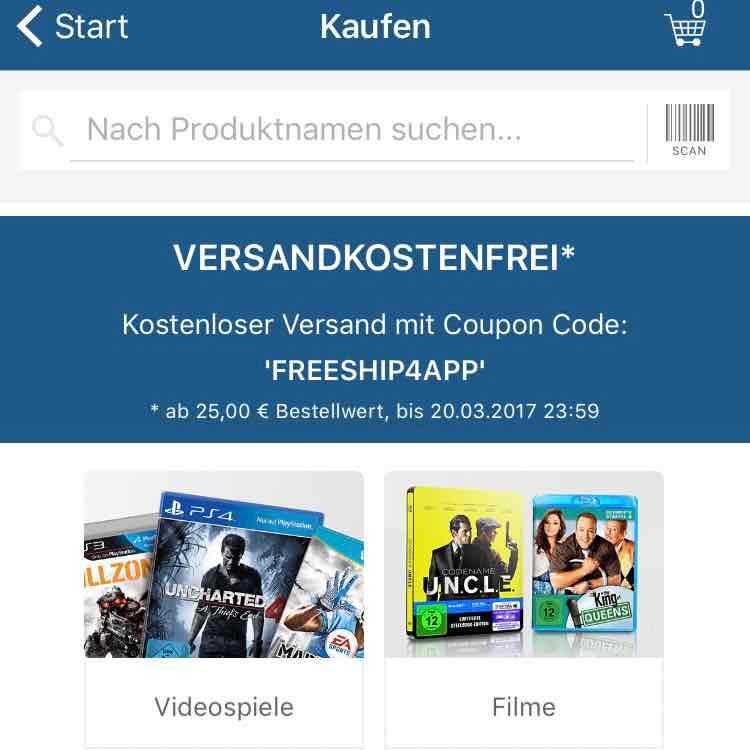 reBuy versandkostenfrei ab 25 Euro über die App // Browser