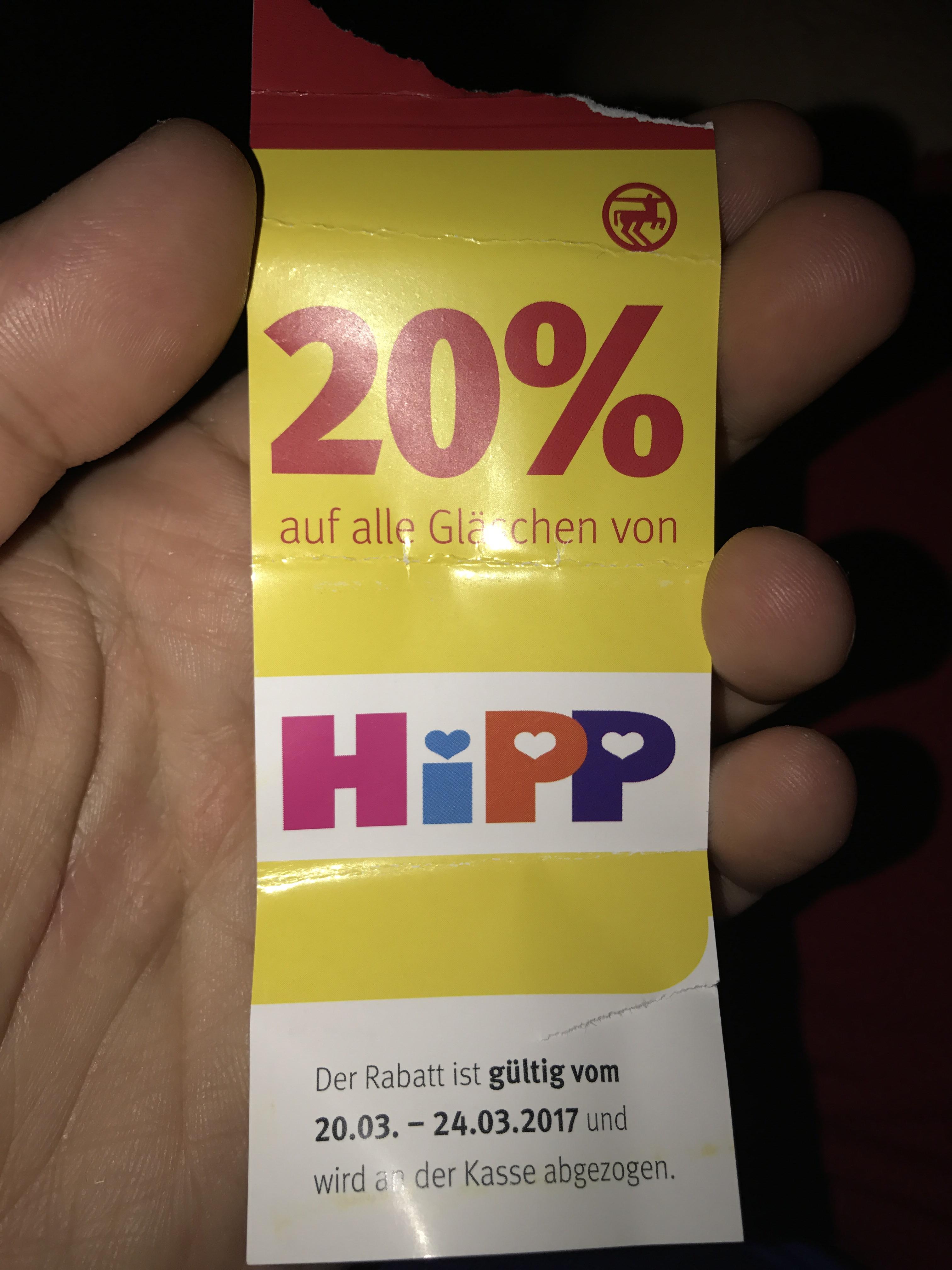 20% auf alle Hipp glässchen Rossman