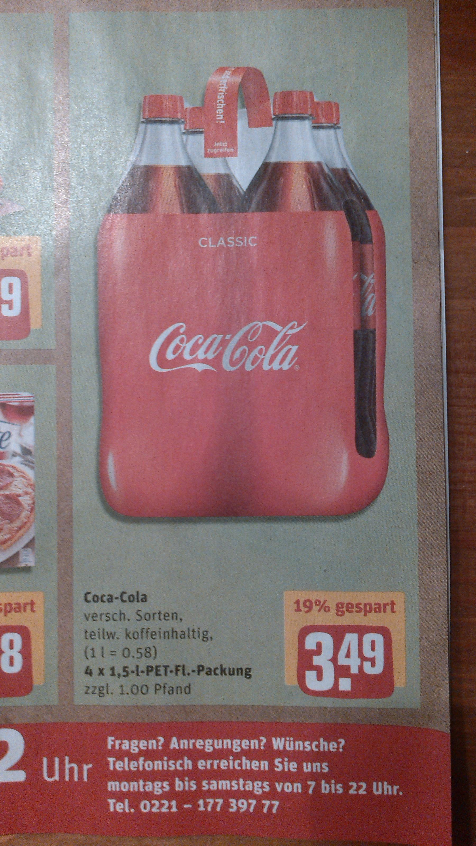 [REWE] 4x1,5l Coca Cola für 2,49 € / Literpreis 0,42 € !