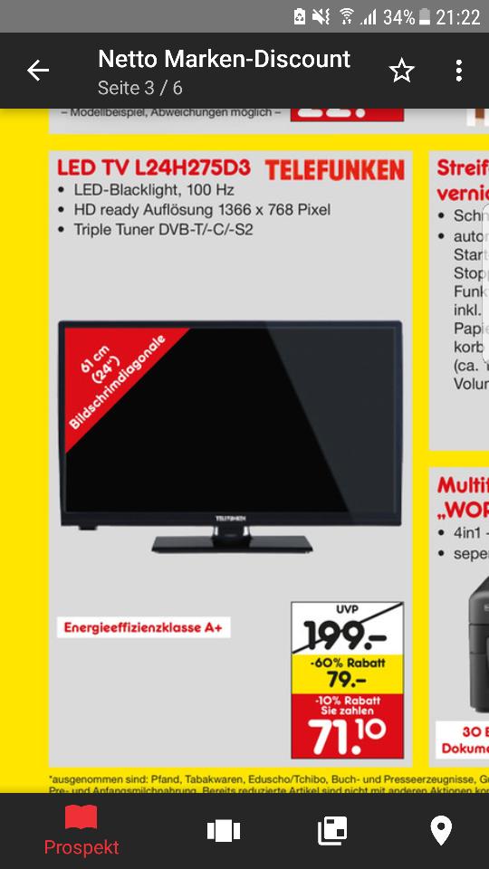 """Lokal Ab dem 21.03.17 Telefunken 24"""" TV L24H275D03 nur 71,10 €"""