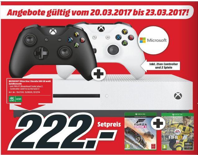 [Nur für Grenzgänger-Lokal Mediamarkt Floridsdorf-Österreich] Microsoft Xbox One S 500GB + Fifa 17(DL) + Forza Horizon 3 (Disc) + 2.Controller für 222,-€