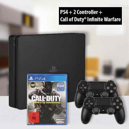 (Lokal Dortmund) Playstation 4 slim, 1 TB, 2 Controller, Call of Duty infinite Warfare für 249€