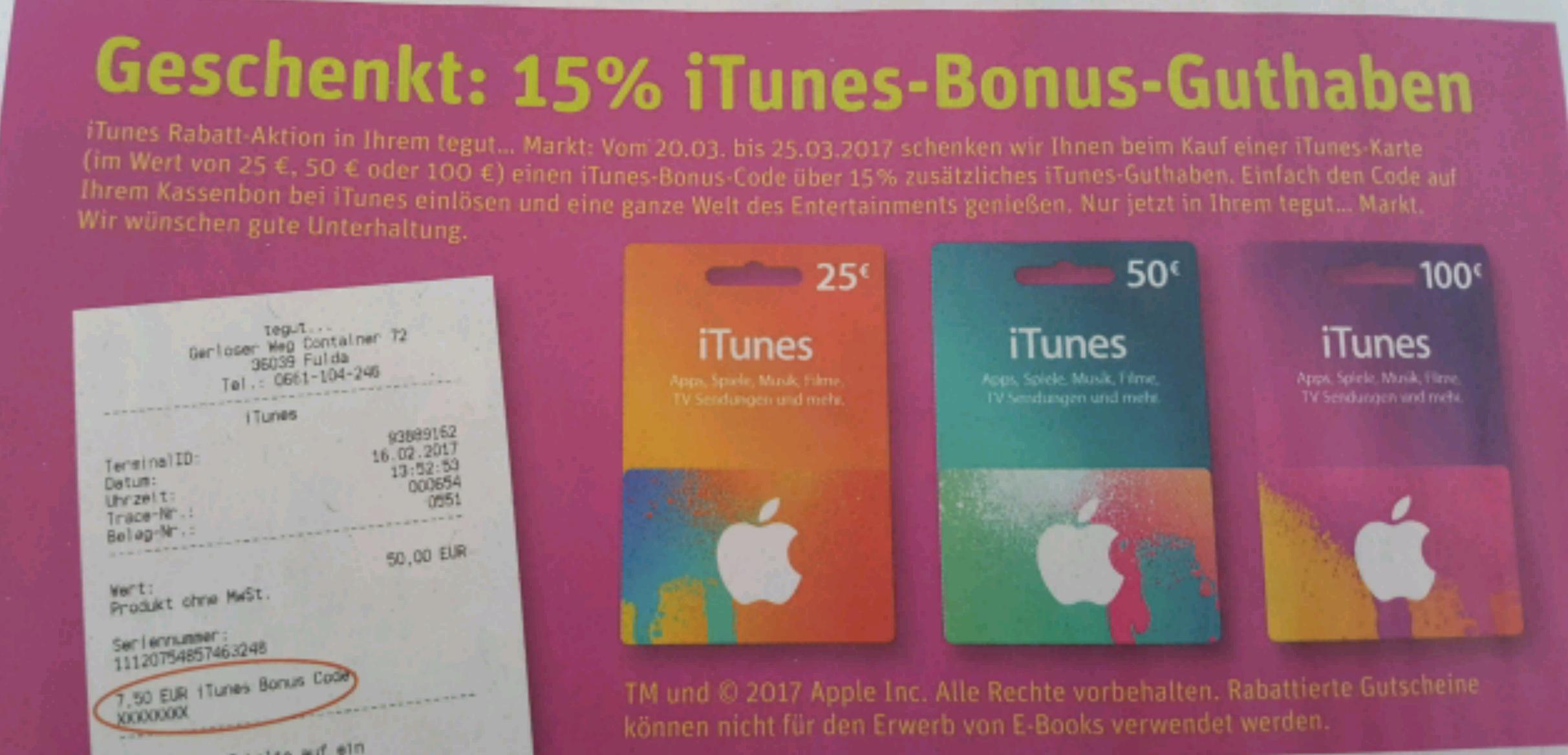 15% Bonus auf iTunes Guthaben bei tegut