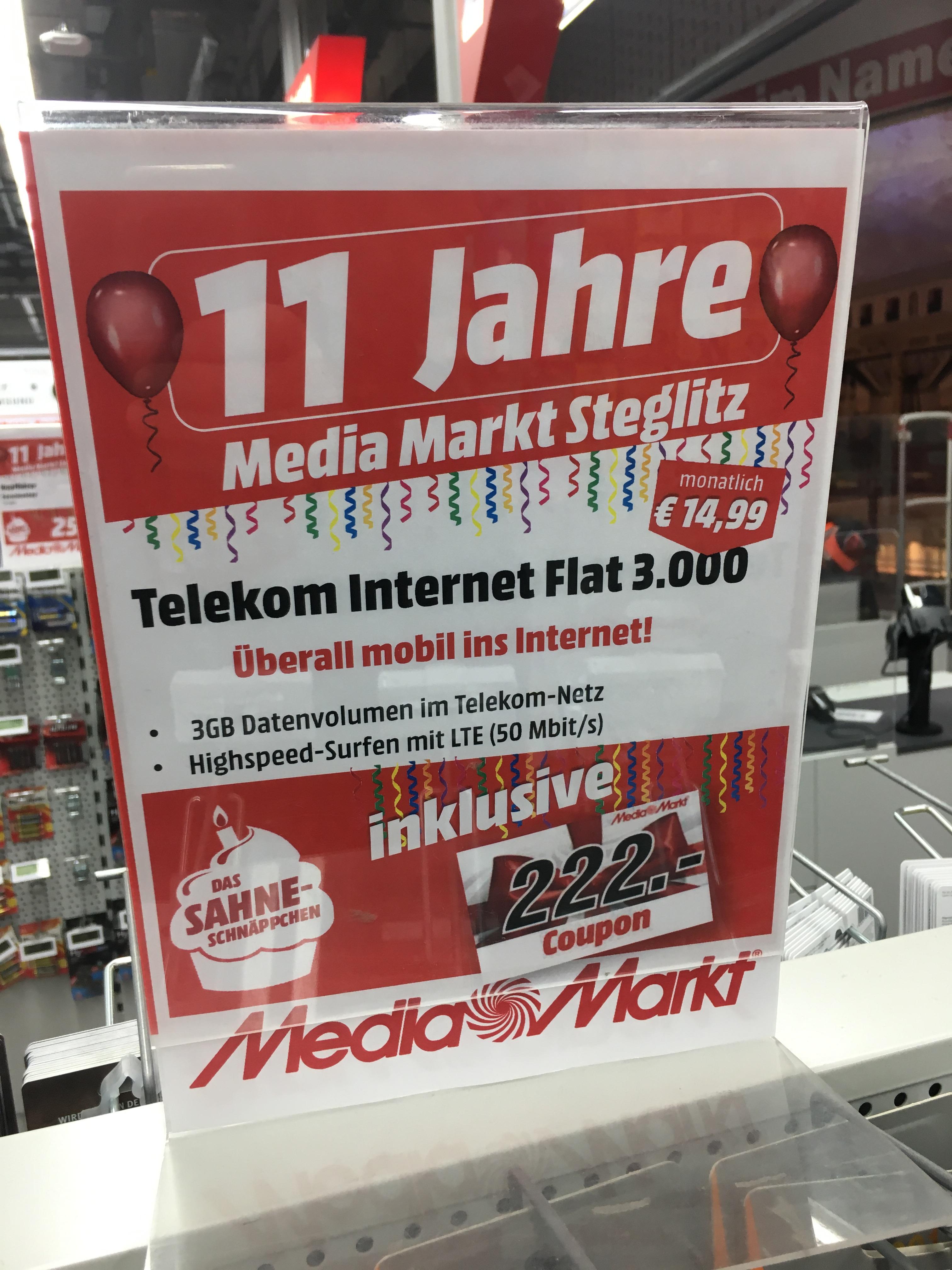 Telekom mobil Internet 3 GB für 5,74 monatlich (effektiv, mit Auszahlung durch Gutschein)  [lokal]