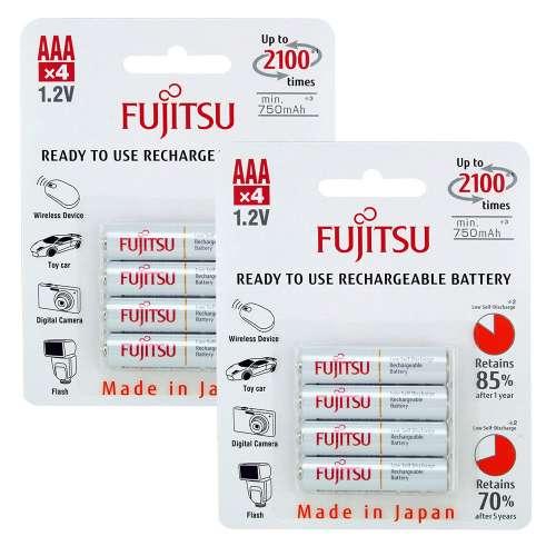 8x Fujitsu AAA HR-4UTCEX (2100 Ladezyklen, 750-800mAh, baugleich Eneloop) für 11,84€ [7DayShop]