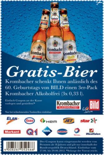 3x 0,33l Krombacher Alkoholfrei heute gratis bei ARAL,ESSO,JET,TOTAL uvm.