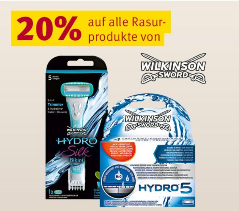 Rossmann Aktion: 20% auf alle Rasurprodukte von Wilkinson Sword + 10% Coupons (Osteraktion) über App-Download