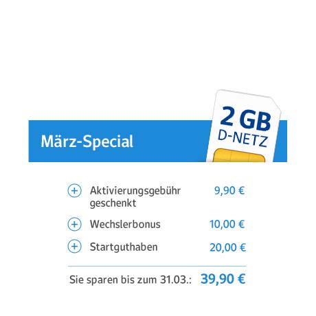 Bei WEB.DE nun D-Netz Smartphone-Tarif im März 40,- Euro sparen