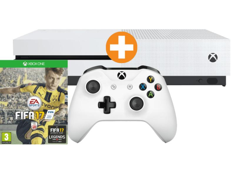 MICROSOFT XBox One S Bundle 500GB weiß mit FIFA 17 (Download-Code) und zweitem Controller für 269€ [Saturn.at]