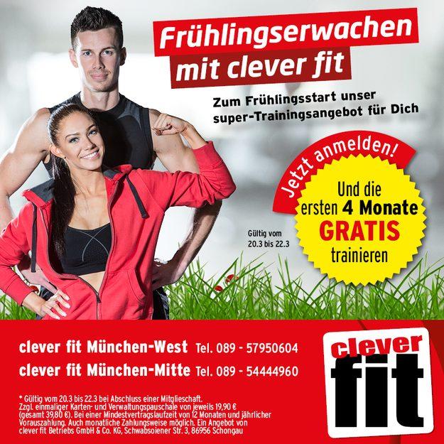 [Lokal] Clever Fit München 4 Monate kostenlos trainieren bei 1 Jahresvertragsabschluss