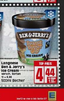 [EDEKA] Hannover-Minden (eventuell bundesweit?) - Langnese Ben & Jerry's Ice Cream 500ml - 4,44€