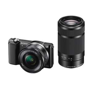 Sony Alpha 5000 Kit 16-50 mm + 55-210 mm schwarz für 472,42€ [amazon.fr]