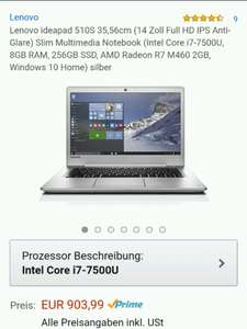 Amazon Blitzangebot Lenovo ideapad 510S, 14 Zoll Full HD IPS matt (Intel i7-7500U, 8GB RAM, 256GB SSD, AMD Radeon R7 M460 2GB, Windows 10 Home) silber