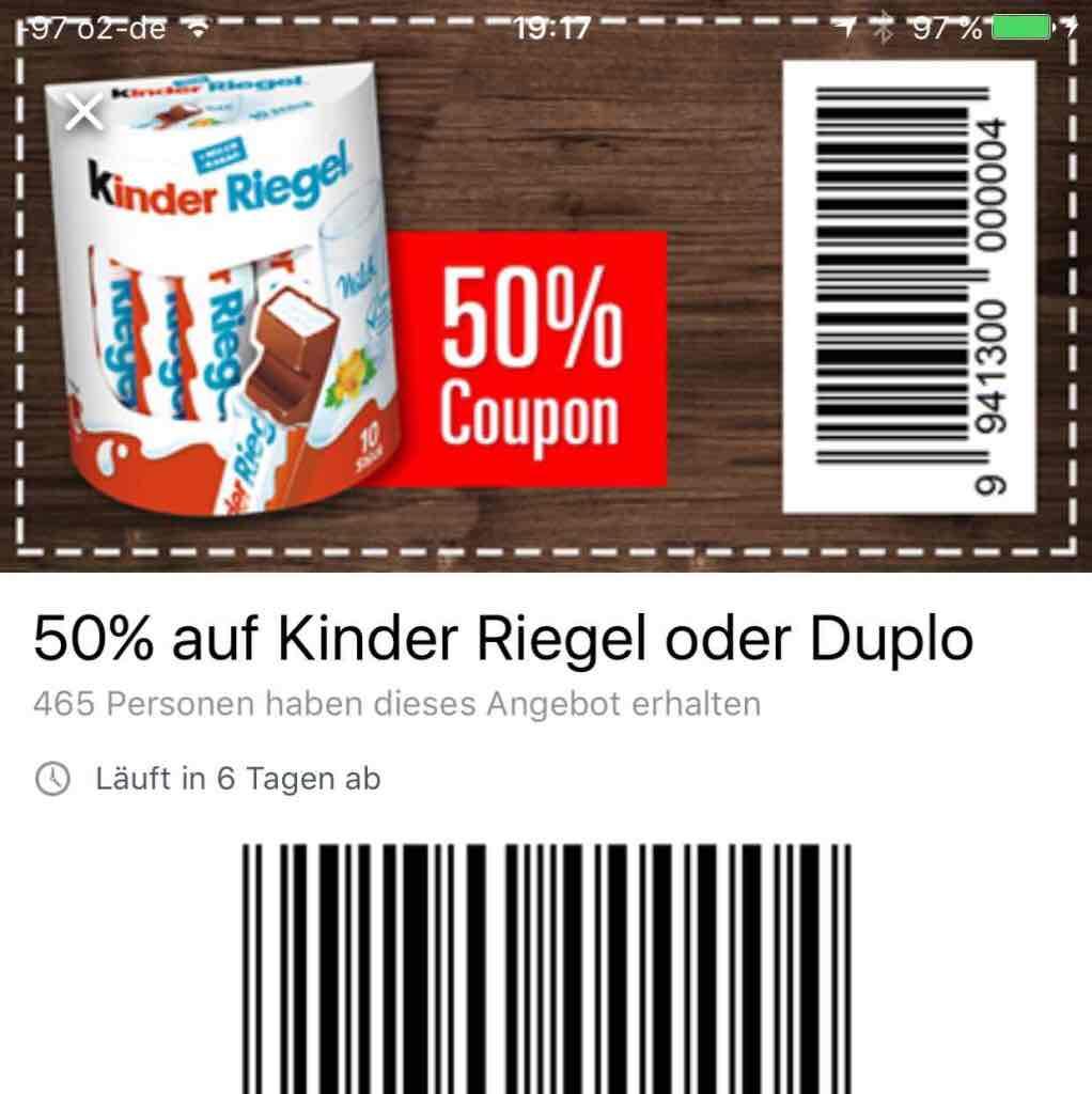 10 er Pack Ferrero Duplo oder Kinderriegel für nur 99 Cent In allen Marktkauf Filialen ( in Norddeutschland)