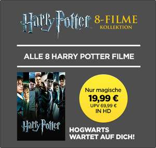 alle 8 Harry-Potter-Filme in HD für 19,99€ kaufen [Wuaki]