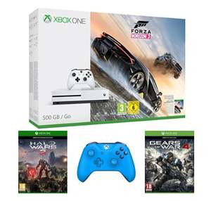 Microsoft Xbox One S 500GB + 2. Wireless Controller Blau + Gears of War 4 + Forza Horizon 3 + Halo Wars 2 für 334,30€ (Amazon.fr)