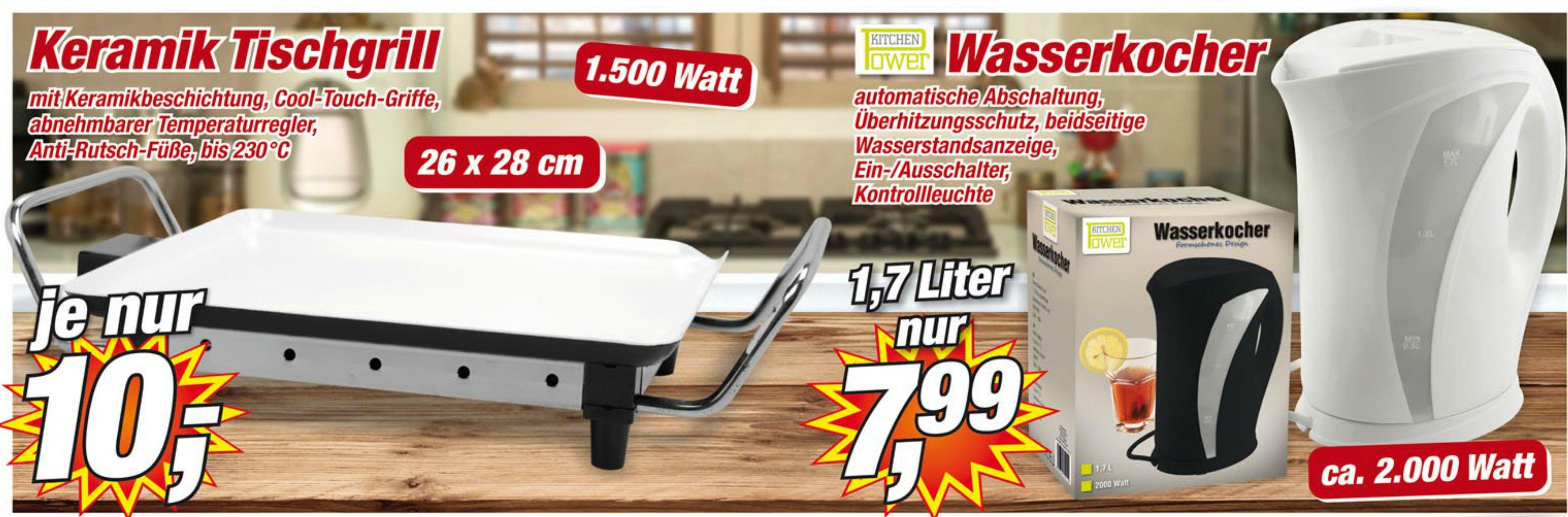 [Posten-Boerse] Wasserkocher 1,7L mit 2kW für 7,99 und Keramik Tischgriller für nen 10er