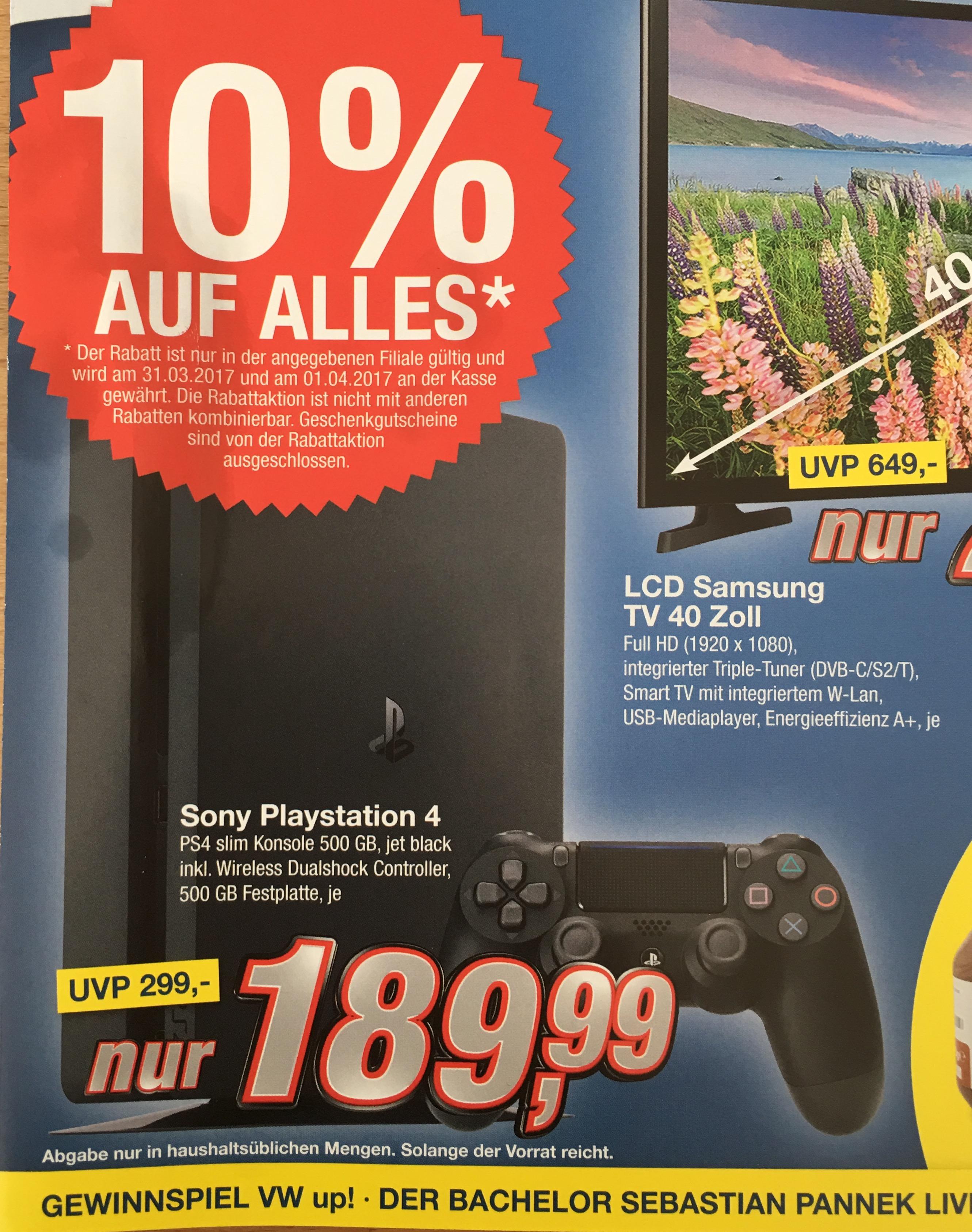 UPDATE[Lokal Bielefeld Sieker kik] Sony Playstation 4 Slim 500 GB, jet black, inkl. Controller ab 31.03. und 1.4.