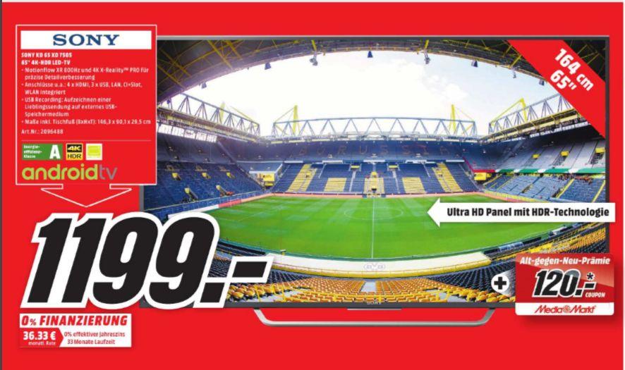 [Lokal Mediamarkt Dortmund-Hörde/ Neueröffnung] SONY KD65XD7505BAEP, 164 cm (65 Zoll), UHD 4K, SMART TV, LED TV, 800 Hz XR, DVB-T, DVB-T2 (H.265), DVB-C, DVB-S, DVB-S2,A, Smart TV für 1199,-€ + 120,-€ Coupon