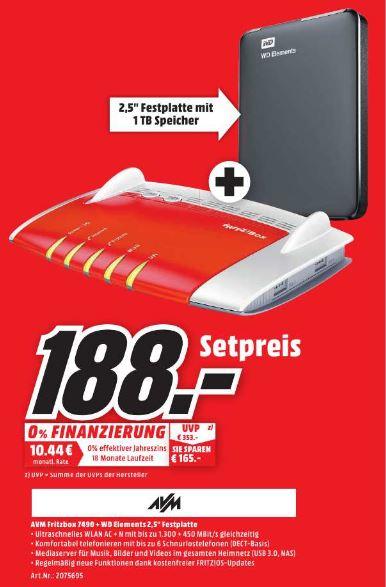[Media Markt - Lokal Dortmund Hörde] Fritzbox 7490 inkl. 1 TB WD Festplatte für 188€ *Update* Ist noch vor Ort vorhanden (Stand 24.3, 11:20 Uhr)