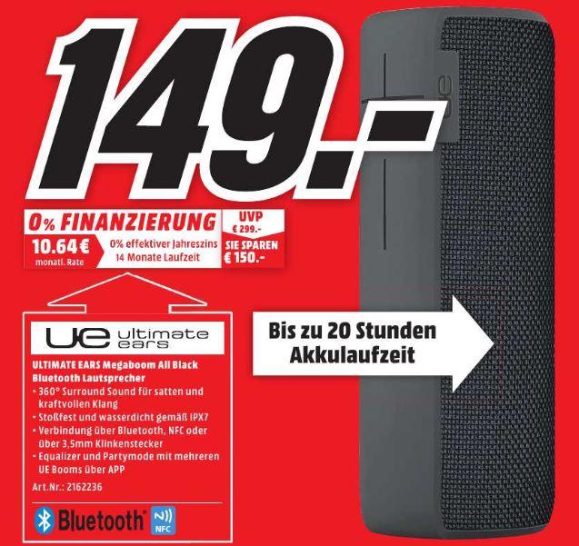 [Media Markt - Lokal Dortmund Hörde] UE Megaboom All black Bluetooth Lautsprecher für 149€ *Update* Ist noch vor Ort vorhanden (Stand 24.3, 11:44 Uhr)
