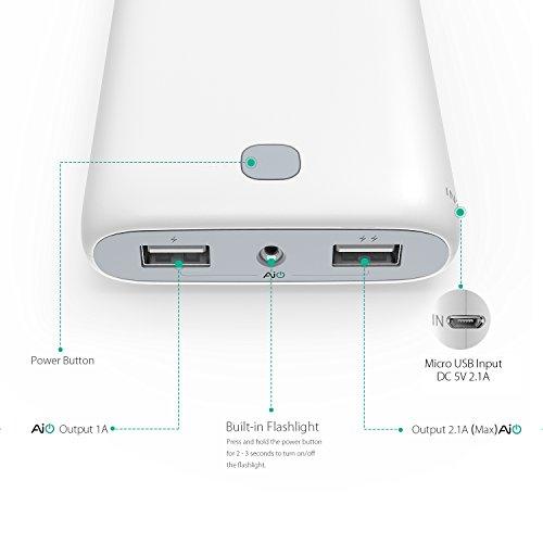 AUKEY Powerbank 20000mAh, Eingang 5V 2,1A und Ausgang 5V 3,1A Max mit 2 Ports, für iPhone iPad LG HTC Kindle Tabletten usw. (Weiß und Schwarz)