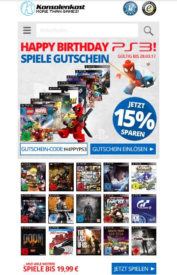 [Konsolenkost] 15% Rabatt auf alle PS3-Spiele