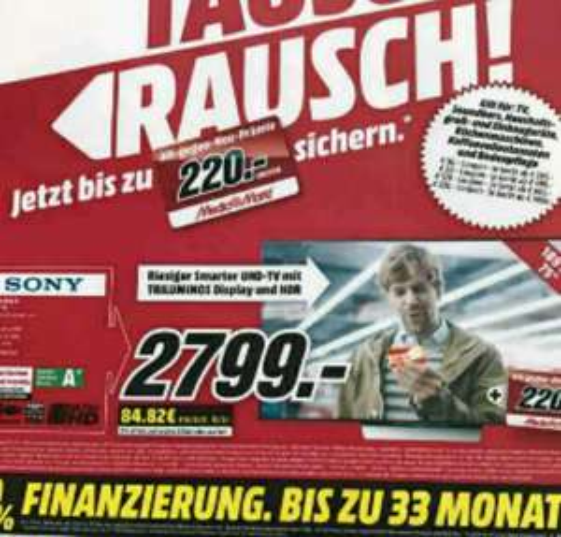 Sony KD75XD8505 75 Zoll TV im Media Markt Borsigallee Frankfurt plus Coupon im Wert von 220 Euro!!!