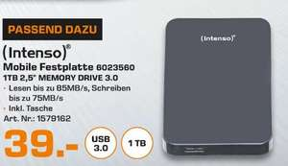 [Lokal Saturn Stuttgart] Intenso HDD externe Festplatte Memory Drive 2,5 Zoll 1TB USB 3.0 schwarz für 39,-€