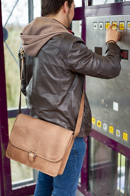 [ebay] PACKENGER Aslang Umhängetasche mit 13,5 Zoll Laptopfach (Vollrindleder, Handmade, 35x30x10cm) in schwarz, braun oder hell-braun
