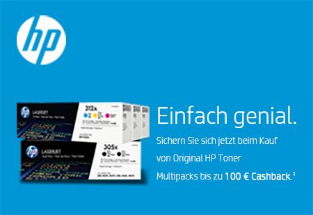 [HP] Toner durch Cashback günstiger, z.B. Toner-Multipack HP 201X (cyan, magenta, gelb)