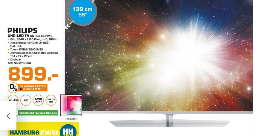 """[Saturn HH] Philips 55"""" UHD 55PUS6551/12"""