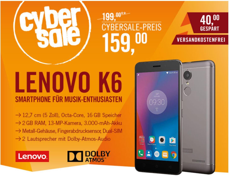 Lenovo K6 16GB Dark Grey, Dual Sim, LTE, Metallgehäuse, Fingerabdrucksensor, Android 6.0  bei Cyberport für 159 €