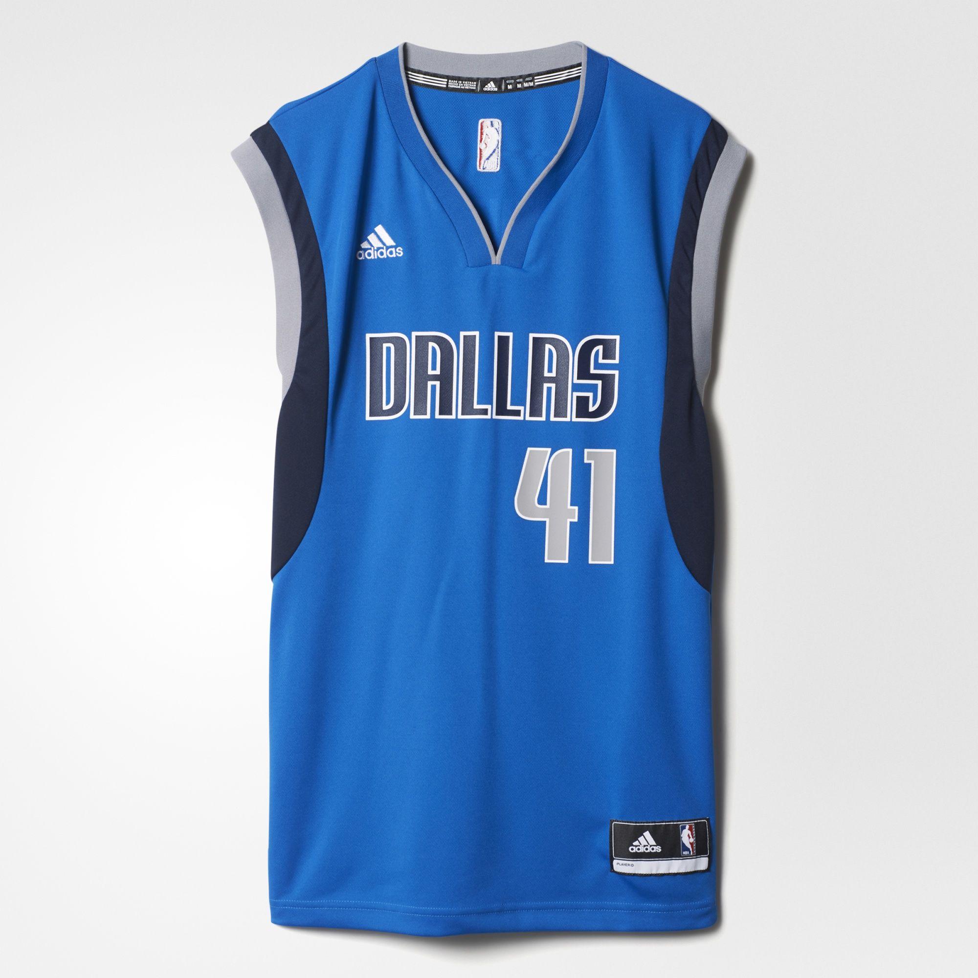 Adidas Dallas Mavericks Jersey mit Dirk Nowitzki Flock (Gr. XS - XL) für 44,99€ inkl. Versand  bei Amazon Buy VIP /