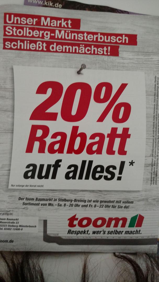 20% beim Toom Baumarkt in Stolberg Münsterbusch