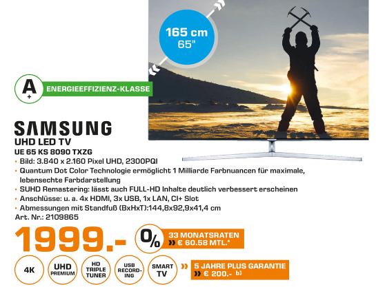[Saturn Baunatal] Samsung KS8090 UE65KS8090