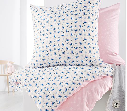 Kinder Renforcé Wendebettwäsche, rosé-weiß-blau für 8,49€ bei Abholung @[Tchibo]
