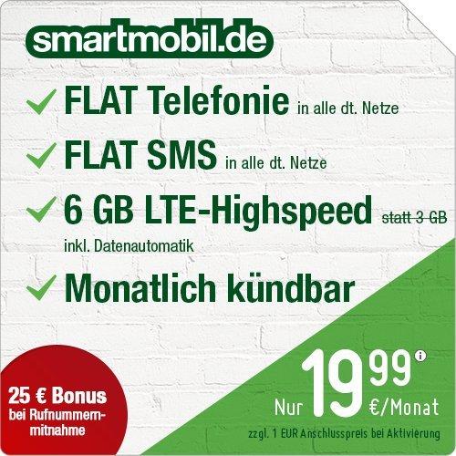 6 GB LTE im O2-Netz • monatl. kündbar • Telefon- & SMS-Flat • 19,99€/Monat [Amazon Prime Deal]
