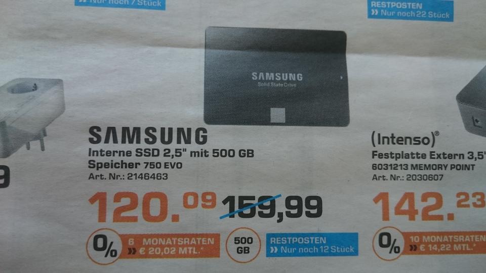 [Saturn Osnabrück ]  Samsung 750 Evo interne Ssd 500 GB