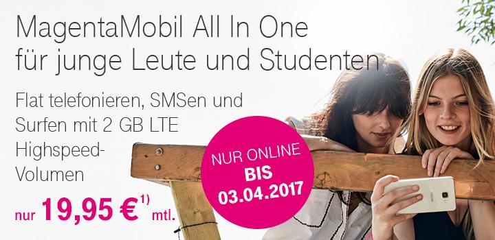 YOUNG Telekom [2GB,LTE,ALLNET] 19.95/29.95 ohne/mit Handy + 1 Euro Samsung A3(17) oder 99 iPhoneSE